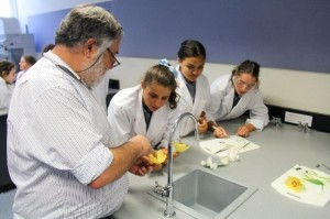 Dr Varigos with students March 2016 orchid dissection